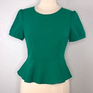 Urban Outfitters Pins and Needles Green Peplum Top